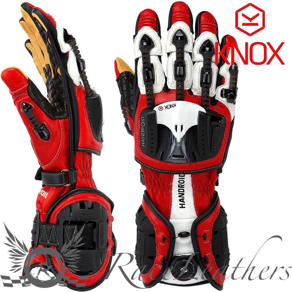 Motorcycle gloves exoskeleton - Knox Handroid Red Hand Armour Exoskeleton Kangaroo Palm Motorcycle Gloves