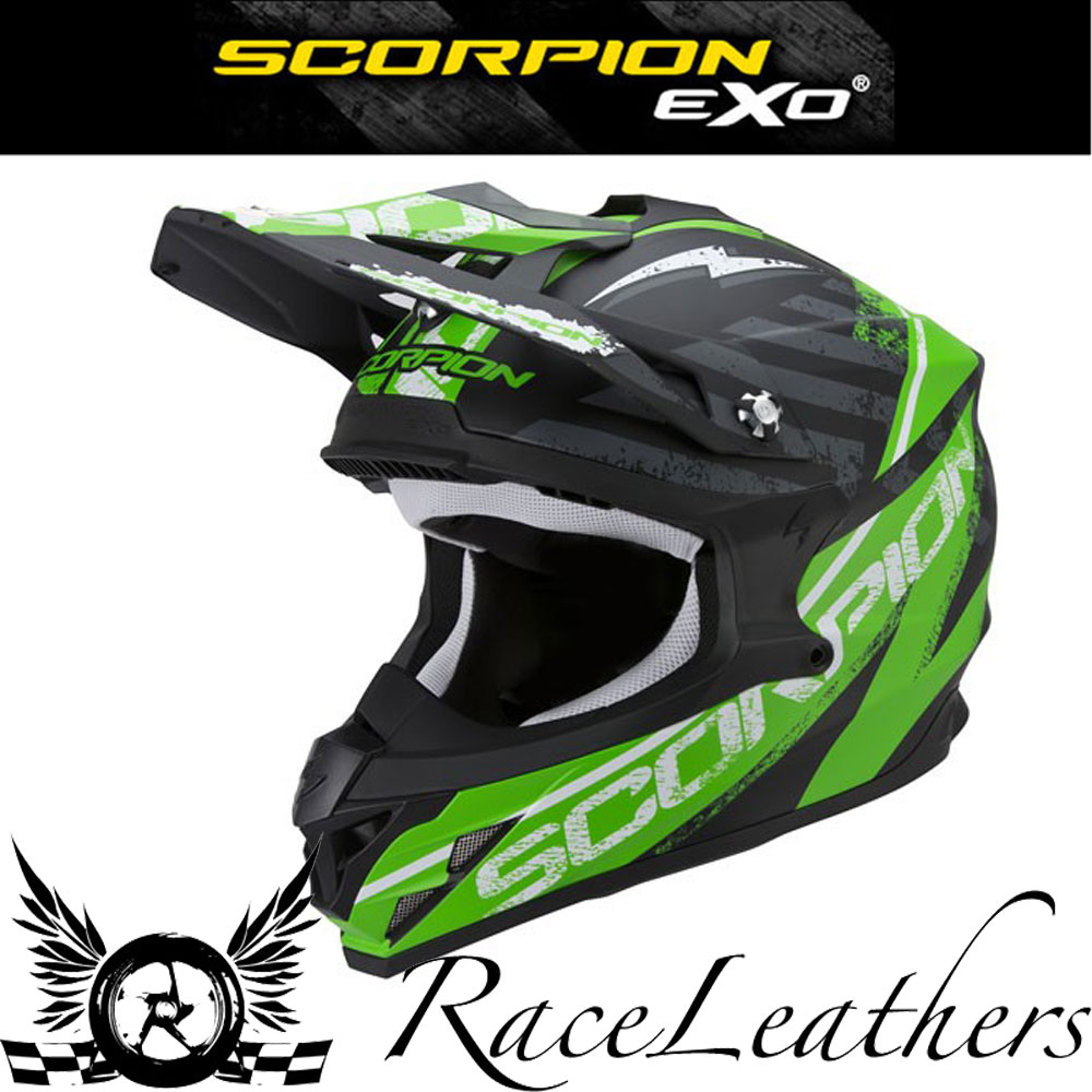 scorpion vx 15 gamma schwarz gr n motocross motorrad helm mit airfit concept ebay. Black Bedroom Furniture Sets. Home Design Ideas