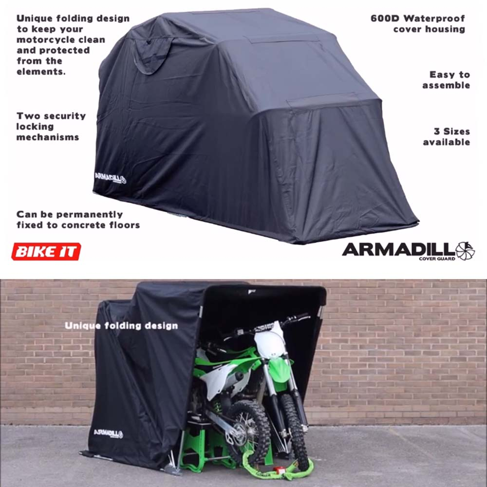 Armadillo medium motorcycle cover shed folding tent bike garage shelter ebay - Motorcycle foldable garage tent cover ...