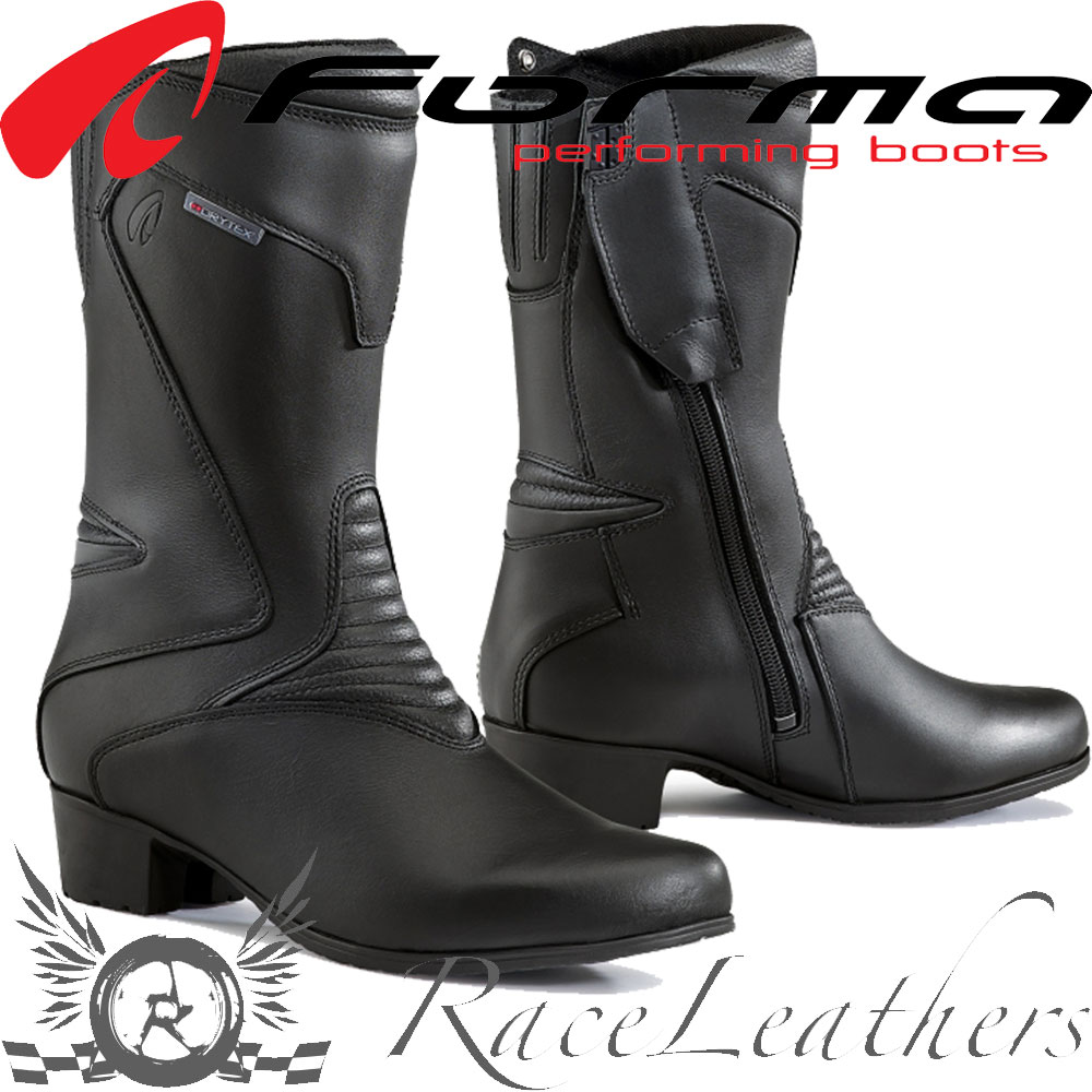 Zu Damen Details Stiefel Motorrad Rubin Wasserdicht Forma Leder Absatz Schwarz Touring eQxoWrBEdC