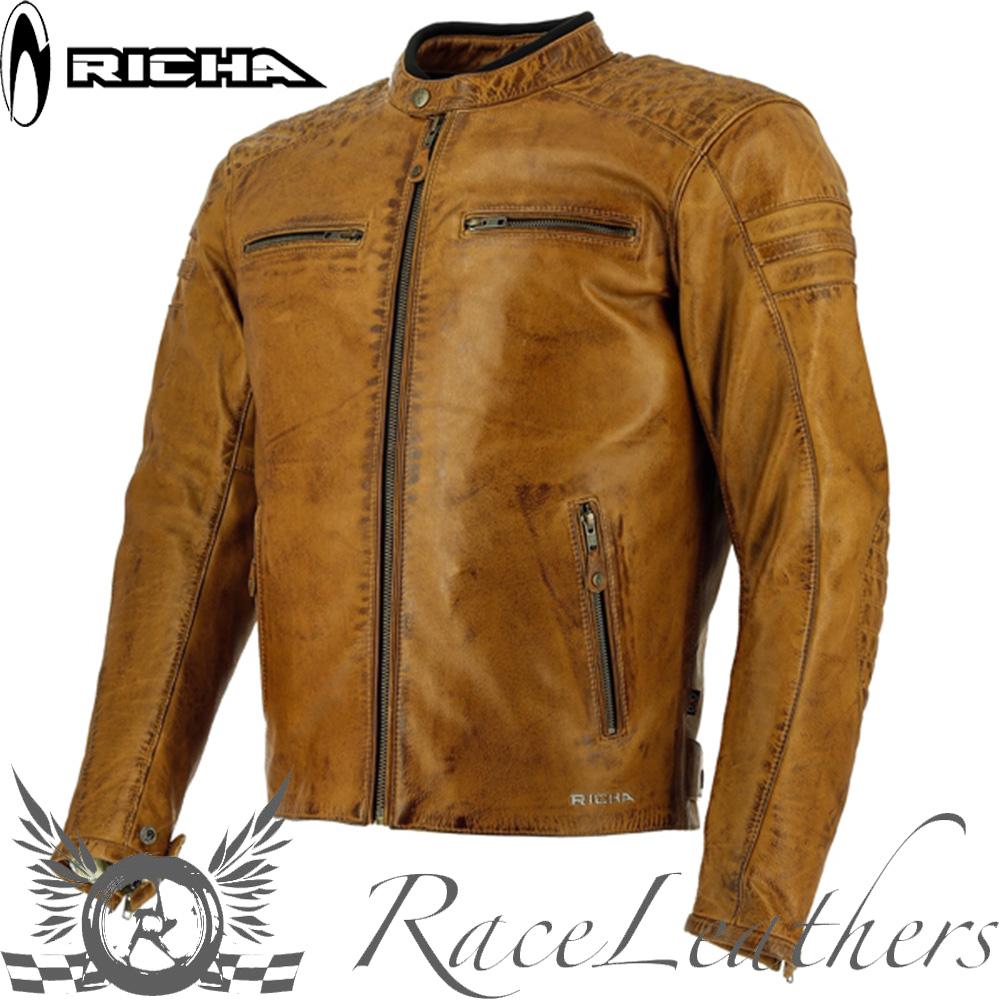 Richa Cuero Retro Daytona Moto 60 Motocicleta Chaqueta Coñac Piel CfZq6C 6495d88bc4dc