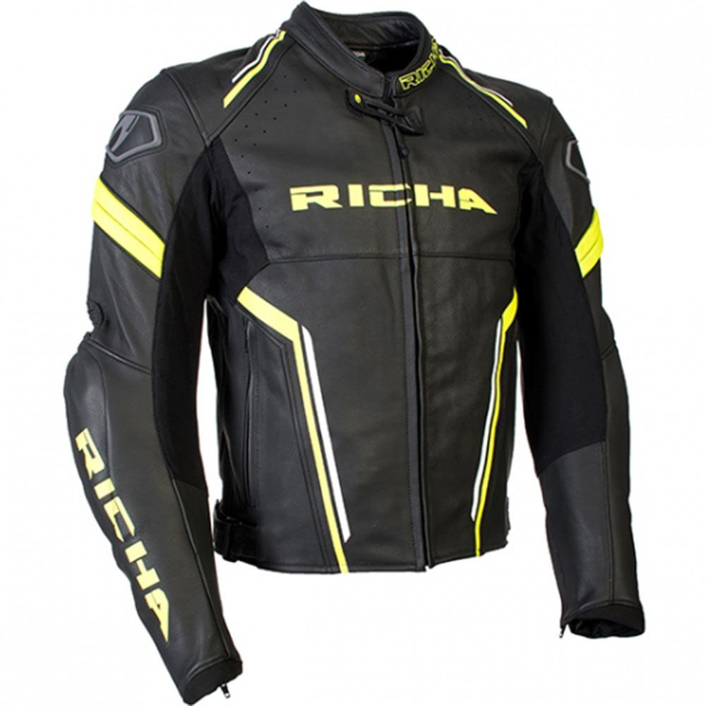 Dettagli su Richa Monza Nero Fluo Uomo IN Pelle Moto SPORTS Touring Moto Giacca