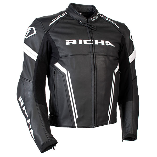 6e71c97813a0 Details about RICHA MONZA BLACK WHITE MENS LEATHER MOTORCYCLE SPORTS  TOURING MOTORBIKE JACKET