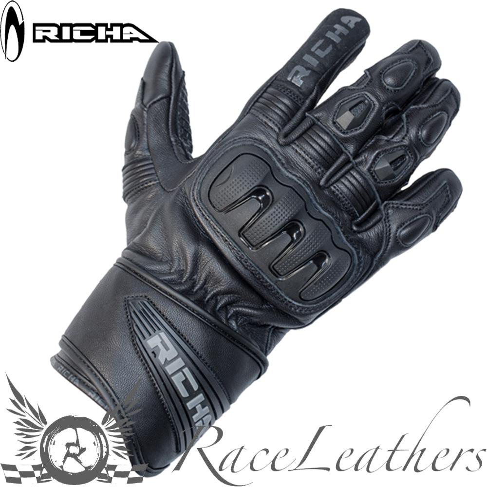 richa noir fonc cuir t motocyclette moto v lo gants ebay. Black Bedroom Furniture Sets. Home Design Ideas