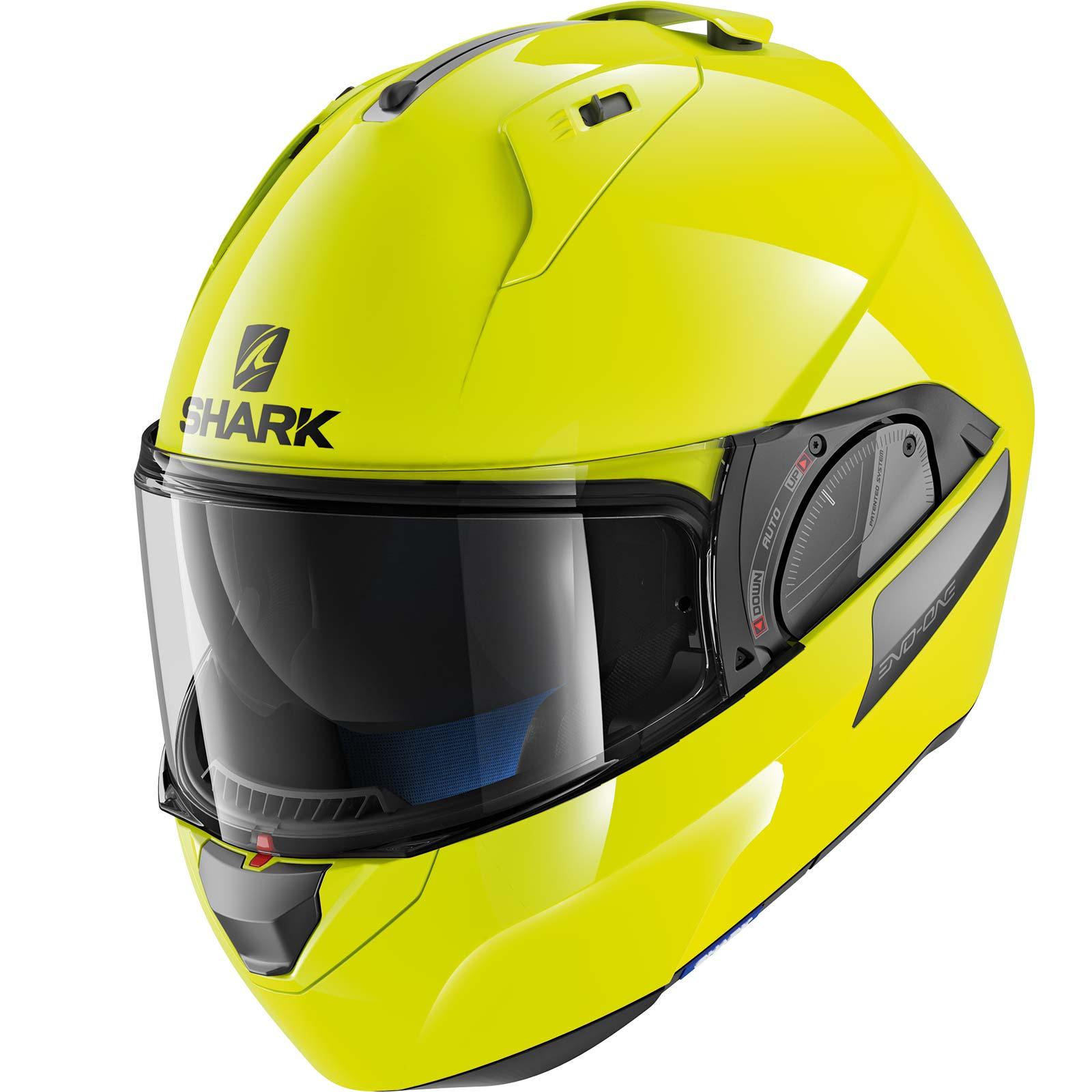 shark evo one 2 hi visibility yellow motorcycle motorbike bike flip front helmet ebay. Black Bedroom Furniture Sets. Home Design Ideas