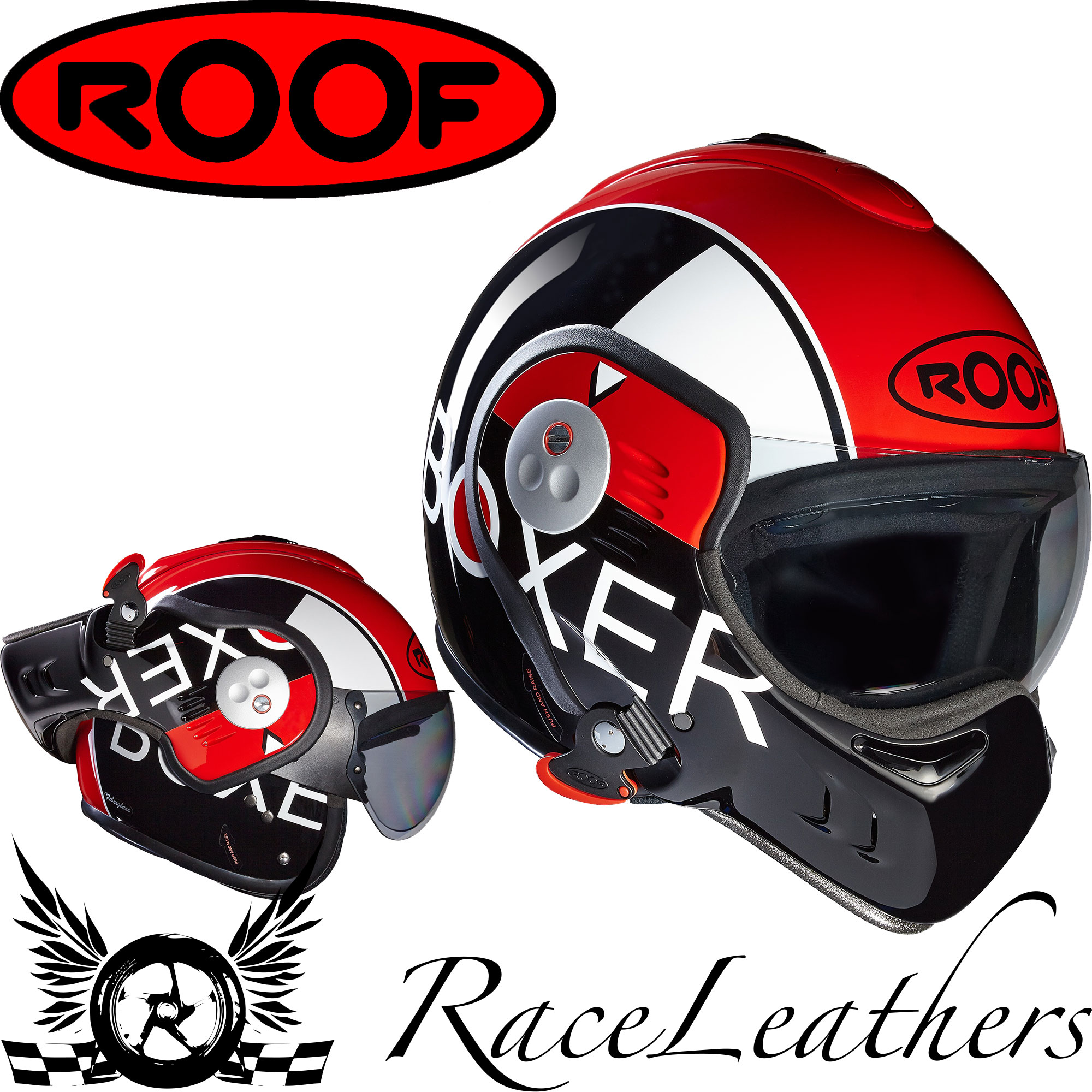 roof boxer v8 grafic black red motorcycle motorbike flip. Black Bedroom Furniture Sets. Home Design Ideas