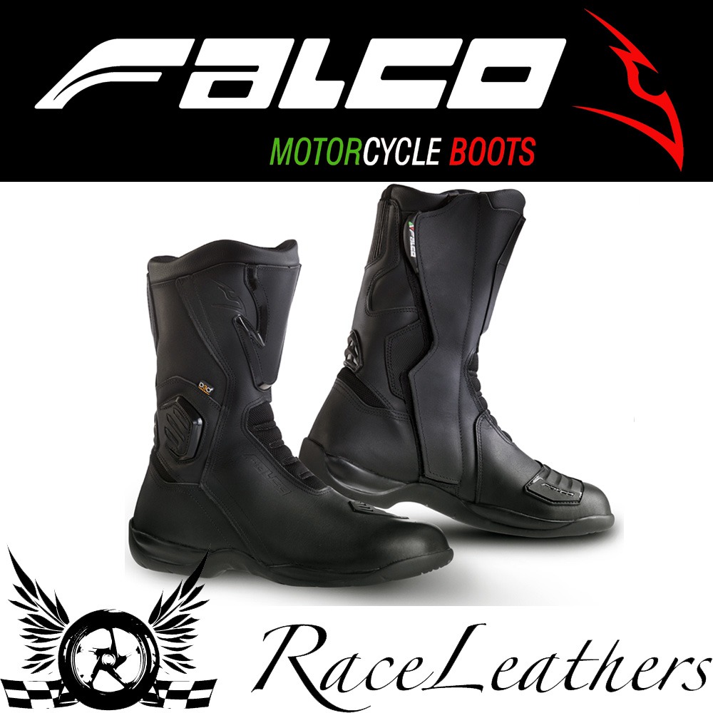 Details about CHEAP SALE FALCO KODO BLACK MOTORCYCLE MOTORBIKE WATERPROOF TOURING BOOTS